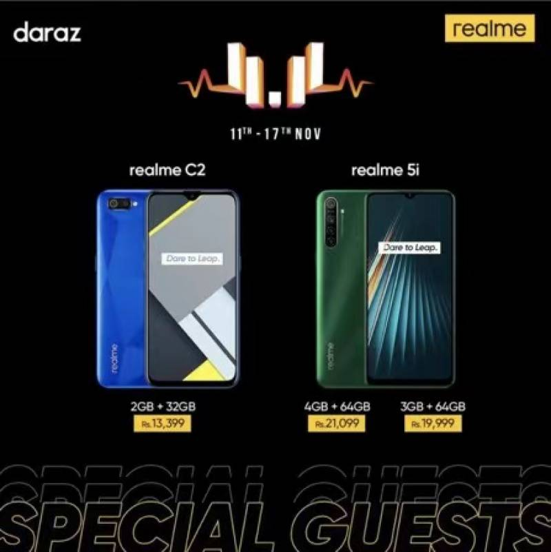 realme C2 for Rs13,399 & realme 5i Rs21,099 only on Daraz 11 11 Sale