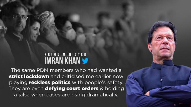 PDM playing 'reckless politics' with people's safety amidst Covid spike: PM Imran