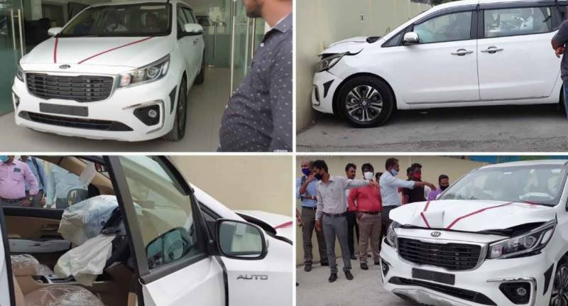 VIDEO – Driver crashes his brand new car into showroom wall