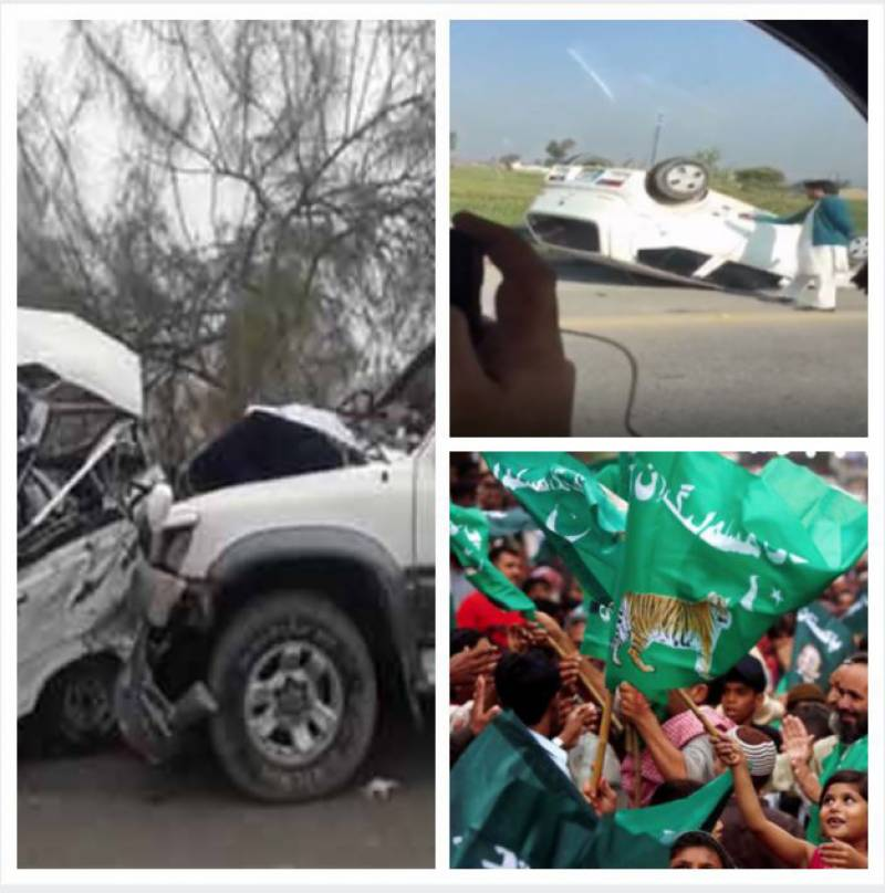 Several injured as PML-N's convoy faces accident on Peshawar motorway (VIDEO)