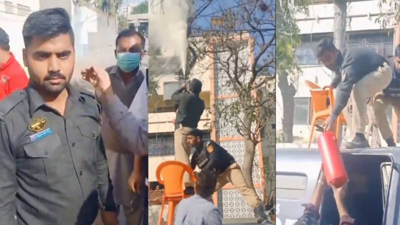 Karachi cop saves the day by extinguishing fire on electric pole (VIDEO)