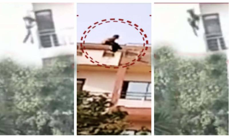 Karachi woman jumps off four-storey building after throwing infant daughter (VIDEO)
