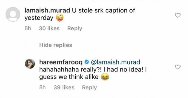 Hareem Farooq copies Shah Rukh Khan in her recent Instagram post