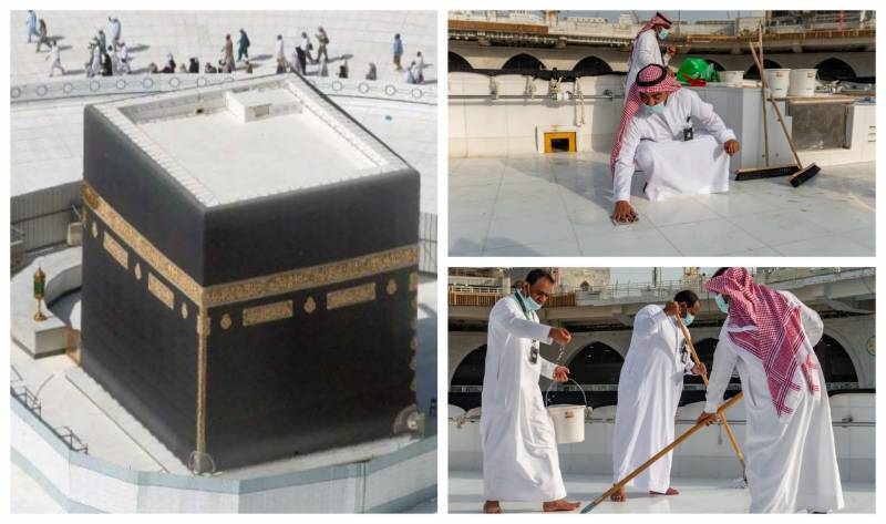 In Pictures: Holy Kaaba's roof cleaned in 'record' 40 minutes