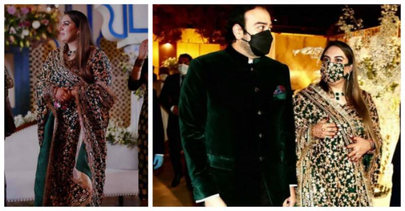 Bakhtawar's bridal emerald green reception outfit took 800 hours to complete