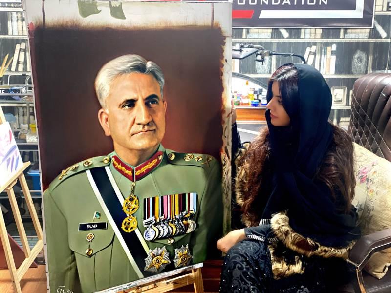 Rabi Peerzada pays tribute to Gen Bajwa with portrait painting