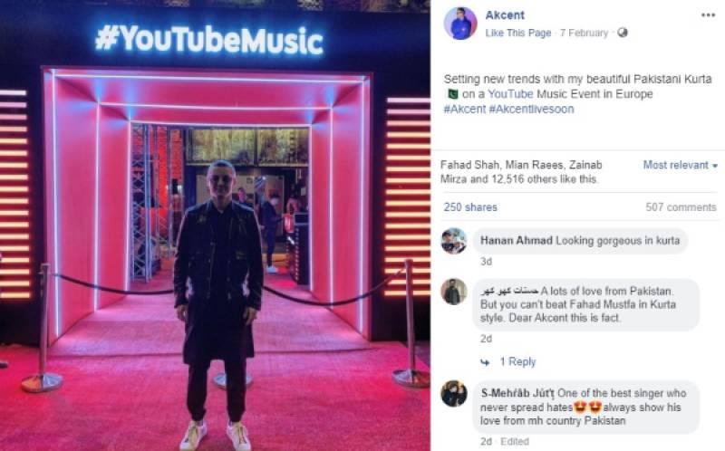 Pop band Akcent member Adrian Sina spotted wearing a Pakistani kurta at a music event