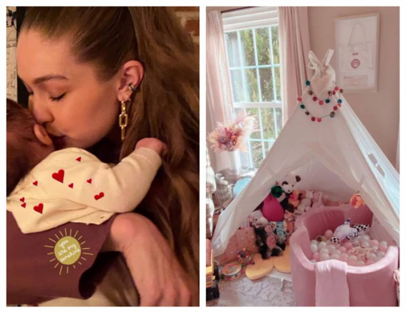 Gigi Hadid transforms her workplace into daughter Khai's playroom