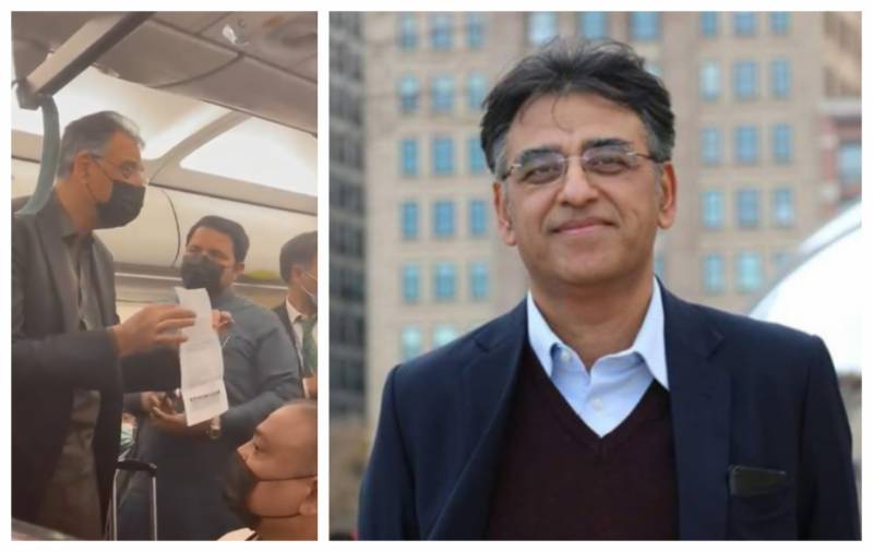 Annoyed Asad Umar leaves PIA plane amid seat mix-up (VIDEO)
