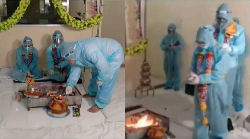 Indian couple gets married in PPE kits after groom tests positive for COVID-19