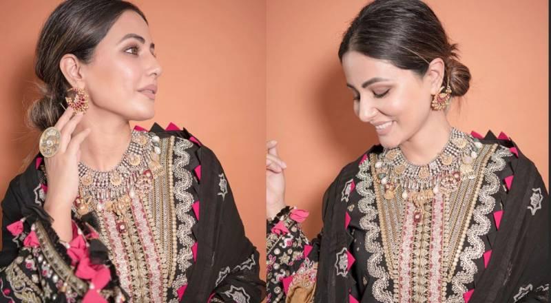 Bollywood's Hina Khan wears Pakistani designer on Eid-ul-Fitr