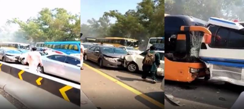 WATCH - Four injured in 15-vehicle pile-up due to stubble smoke on Lahore-Islamabad Motorway