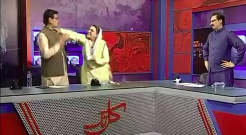 Watch: PTI's Firdous Ashiq Awan slaps, abuses PPP's Qadir Mandokhel during TV show