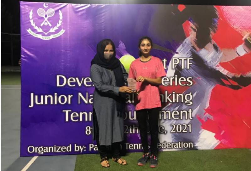 Amna clinches double crowns in 1st PTF Development Series Jr Tennis Tournament