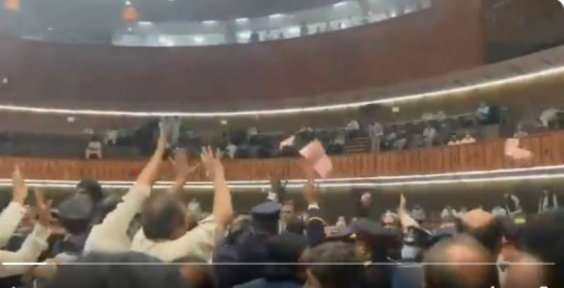 Two injured as PTI, PML-N lawmakers toss copies of budget book at each other in NA