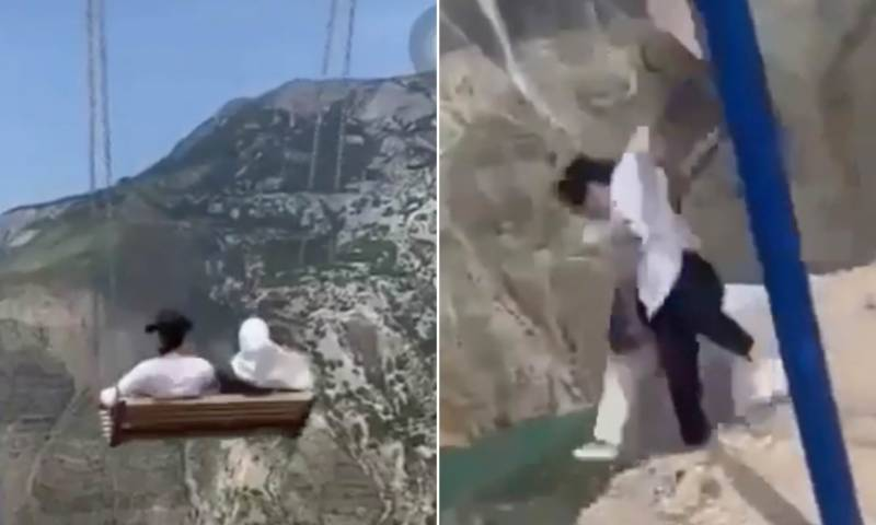 Watch: Women miraculously escape death after falling of swing on the edge of 6,300ft cliff in Russia
