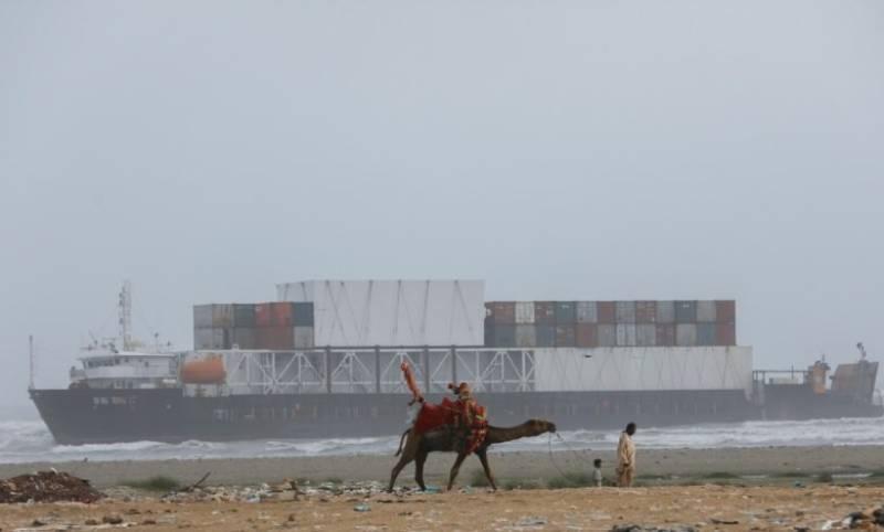 Giant cargo ship stuck off Karachi coast