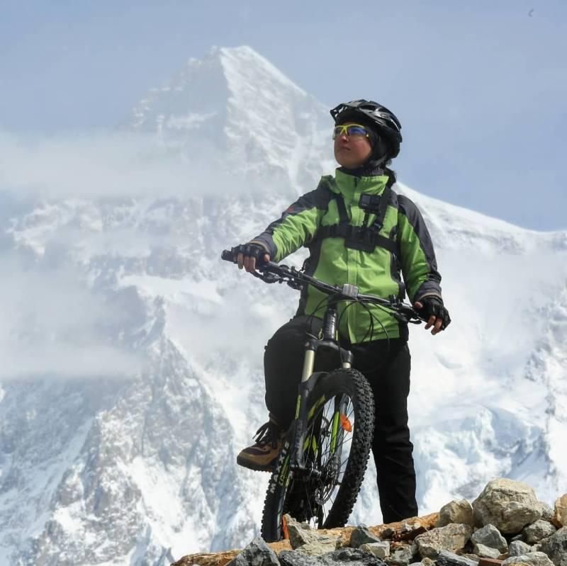 First Pakistani female biker Samar Khan reaches K2 base camp on cycle