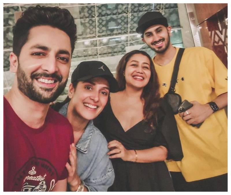 Ayeza Khan and Danish Taimoor click a star-studded selfie with Neha Kakkar