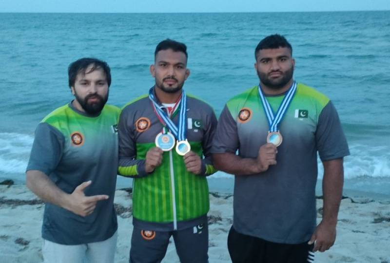 Pakistan's Inam Butt wins another gold medal in beach wrestling