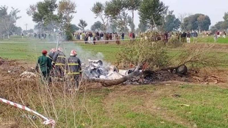 PAF trainer aircraft crashes near Mardan, pilot martyred (VIDEO)