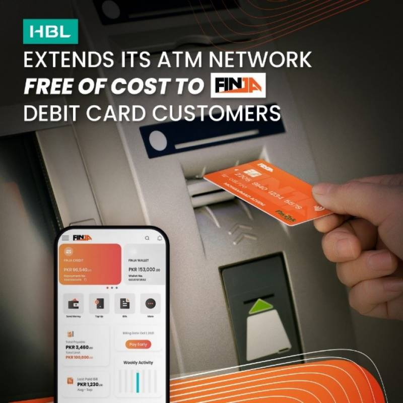 HBL extends its ATM network free of cost to Finja Debit Card customers