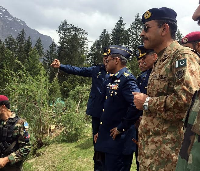 GILGIT, PAKISTAN, MAY 08: Air Force Chief of the Air Staff, Air Chief Marshal Sohail Aman visits the site of tragic accident at Naltar in Gilgit on Friday, May 08, 2015. (PPI Images).