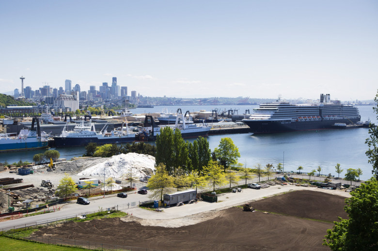 Holland America Line's 936-foot cruise ship, the MS Westerdam, gets ready for the beginning of the 2015 cruise season at Smith Cove in Seattle on Saturday, May 2, 2015. The Port of Seattle estimates over 895,000 passengers will pass through on 192 cruise ships in 2015, generating a $407.8 million annual industry. (Lindsey Wasson / The Seattle Times)