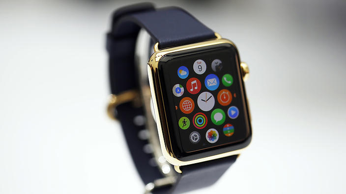 A new Apple Watch is seen during an Apple event at the Flint Center in Cupertino, California, September 9, 2014. REUTERS/Stephen Lam (UNITED STATES - Tags: BUSINESS SCIENCE TECHNOLOGY)