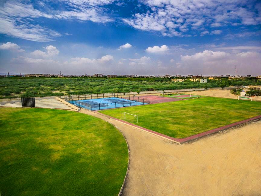 Football ground, Tennis courts, Cricket stadium
