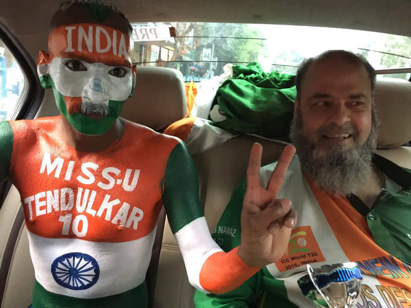 Indian fans on their way to the match
