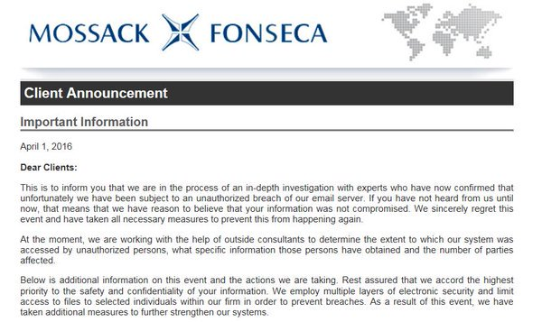 Mossack Fonseca's email it it's clients, one of which is alleged to be the Sharif Family. The documents also claim that the company ,