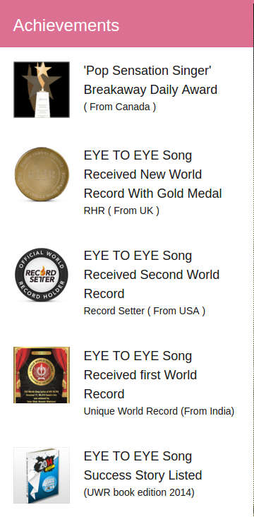 Just some of the awards Taher Shah has won for his song