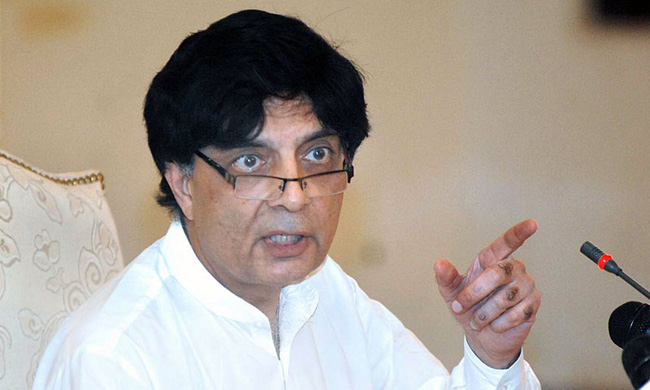 APP71-10 ISLAMABAD: September 10 - Federal Minister for Interior and Narcotics Control Chaudhry Nisar Ali Khan addressing a press conference at Punjab House. APP photo by Irfan Mahmood
