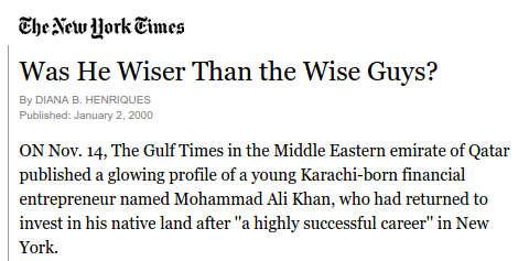 Mohammad Ali Khan in New York Times