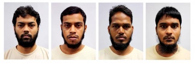 A combination photos shows undated mugshots of four Bangladeshi nationals who were sentenced in a Singapore court July 12, 2016. From L-R, Rahman Mizanur, Miah Rubel, Md Jabath Kysar Haje Norul Islam Sowdagar, and Sohel Hawlader Ismail Hawlader. Ministry of Home Affairs/Handout via Reuters