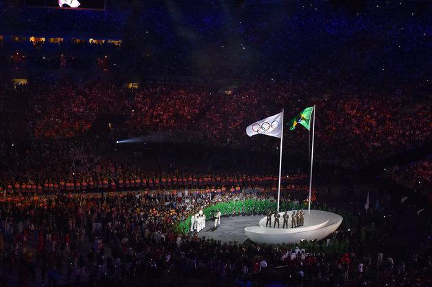 31st Rio 2016 Olympics / Opening Ceremony Illustration / Olympic flag / Brazilian flag / Olympic / Maracana stadium / Summer Olympic Games / (c)Tim De Waele