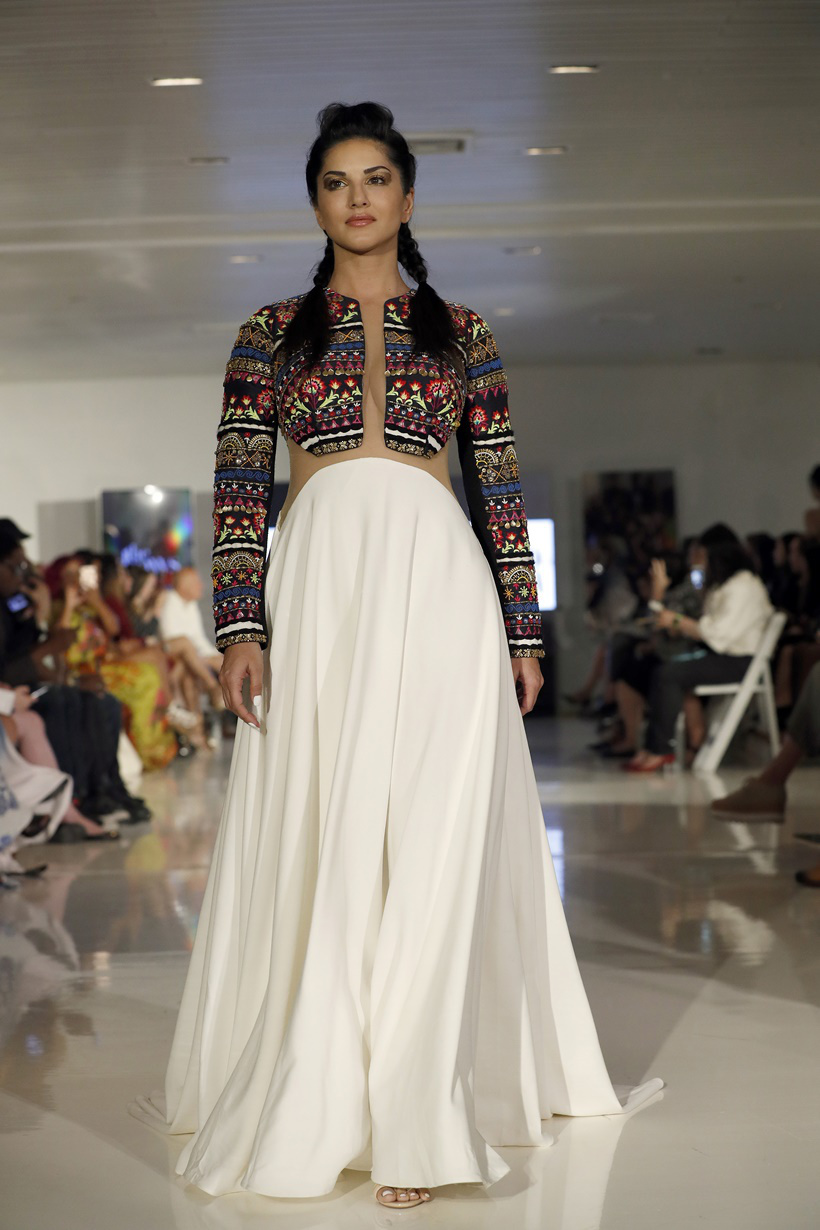 Actress actress Sunny Leone models the Archana Kochhar collection during Fashion Week in New York, Thursday, Sept. 8, 2016. (AP Photo/Mary Altaffer)