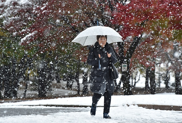 A pedestrian walks in snowfall in Tokyo on November 24, 2016. Tokyo woke up on November 24 to its first November snowfall in more than half a century, leaving commuters to grapple with train disruptions and slick streets. / AFP / Kazuhiro NOGI (Photo credit should read KAZUHIRO NOGI/AFP/Getty Images)