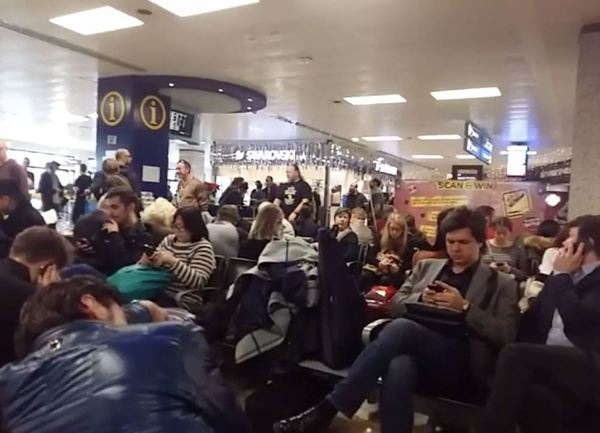 Scenes from the departure lounge at Malta airport, from a video taken by a passenger