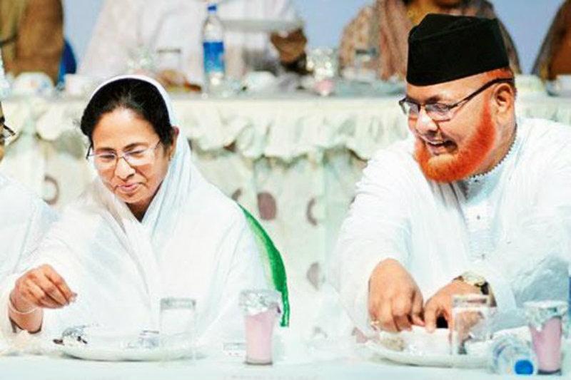 The Shahi Imam of Tipu Sultan Mosque, Maulana Nurur Rehman Barkati with West Bengal Chief Minister Mamta Banjerjee.–File photo