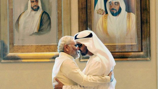 Modi with the Crown Prince of UAE Sheikh Mohammed bin Zayed Al Nahyan.–File photo