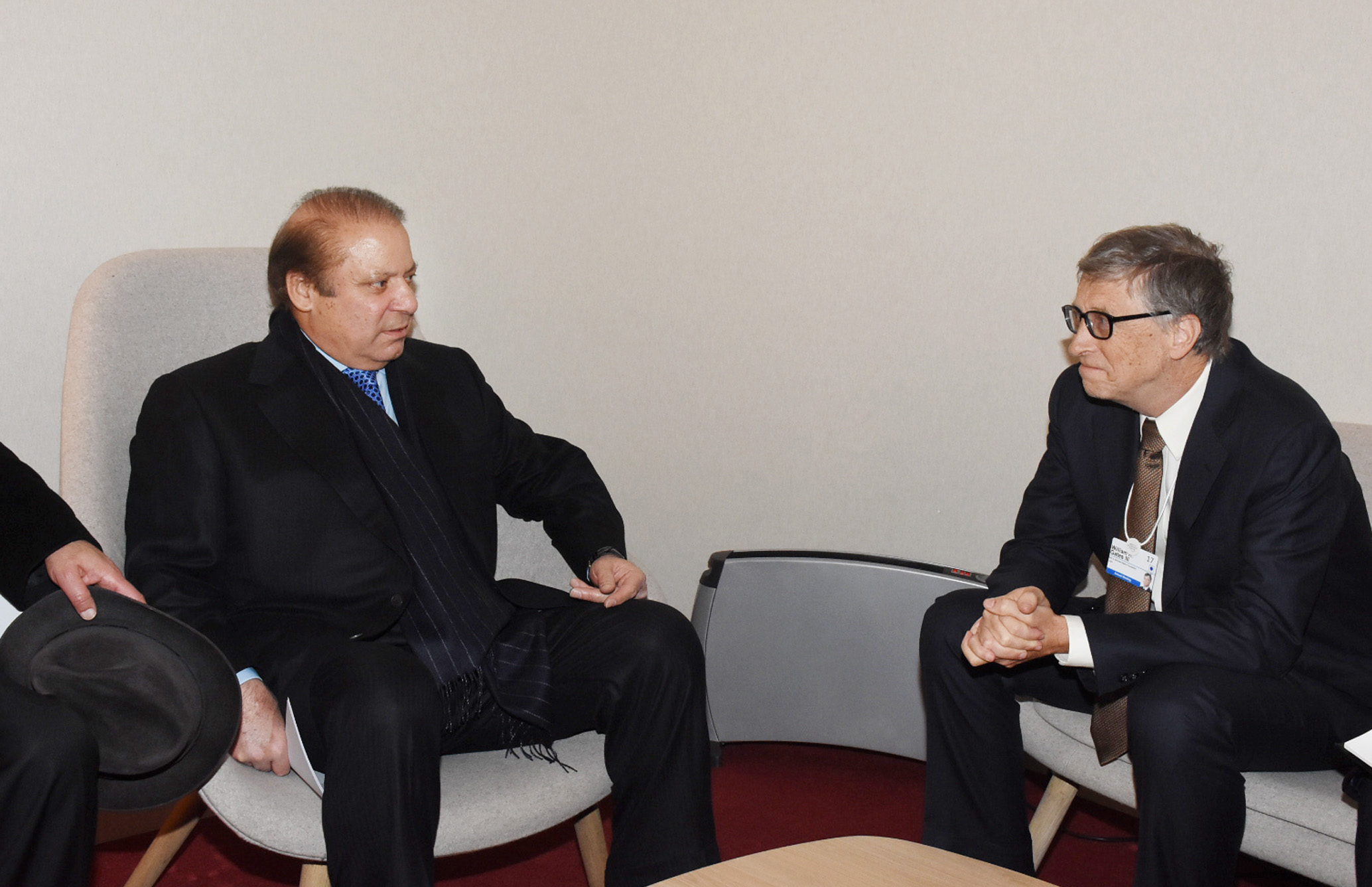 PRIME MINISTER MUHAMMAD NAWAZ SHARIF MEETING WITH BILL GATES ON THE SIDELINES OF WORLD ECONOMIC FORUM AT DAVOS ON 19TH JANUARY, 2017.