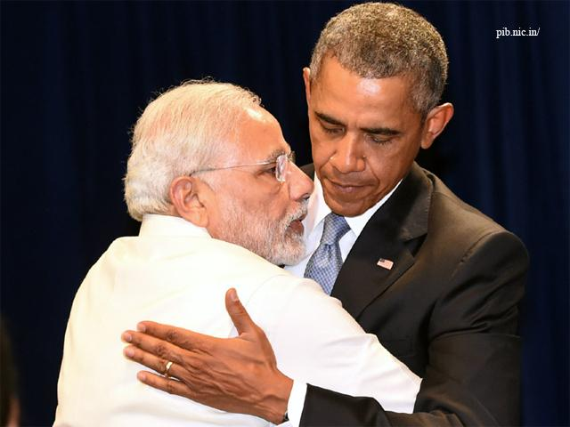 Narendra Modi with former US president Barack Obama.–File photo