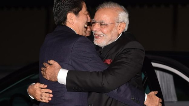 Narendra Modi with Japan's PM Shinzō Abe.–File photo