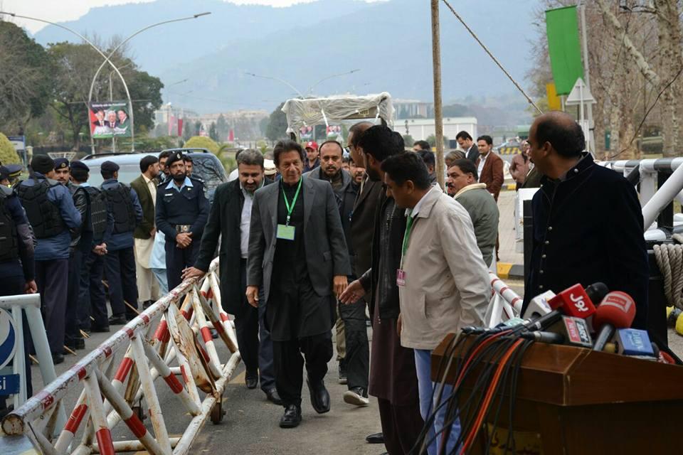 PTI supremo Imran Khan arrives at supreme court