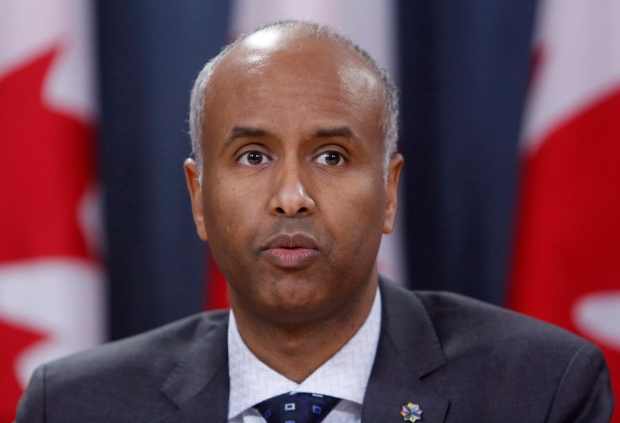 Immigration Minister Ahmed Hussen during a press talk