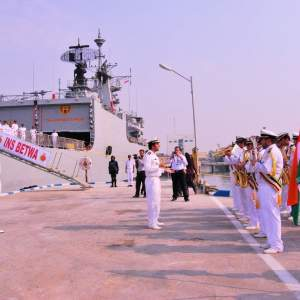 The Iranian Navy Band playing the Indian National Anthem during a ceremonial parade at Bandar-e-Abbas port; 28 August 2015