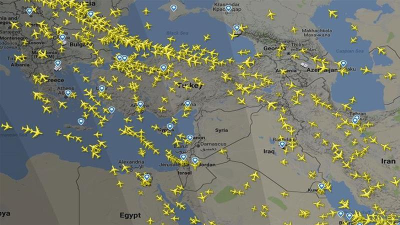 The Syrian airspace (Source: Flightradar24)